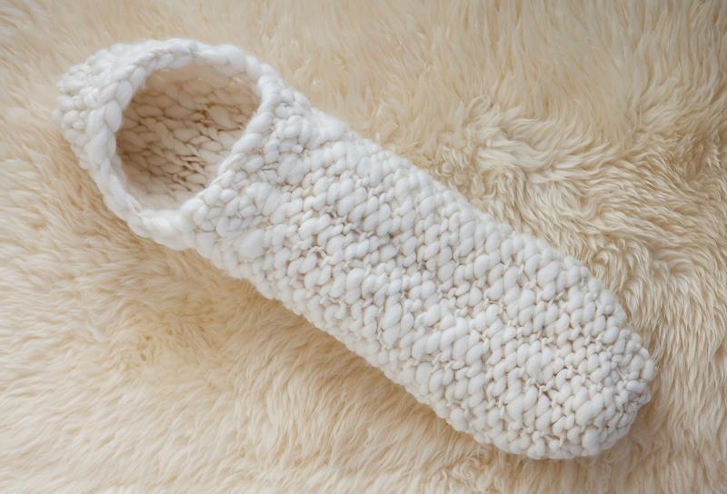 Hand knit newborn baby cocoon in undyed merino wool