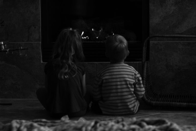 kids fireplace bw