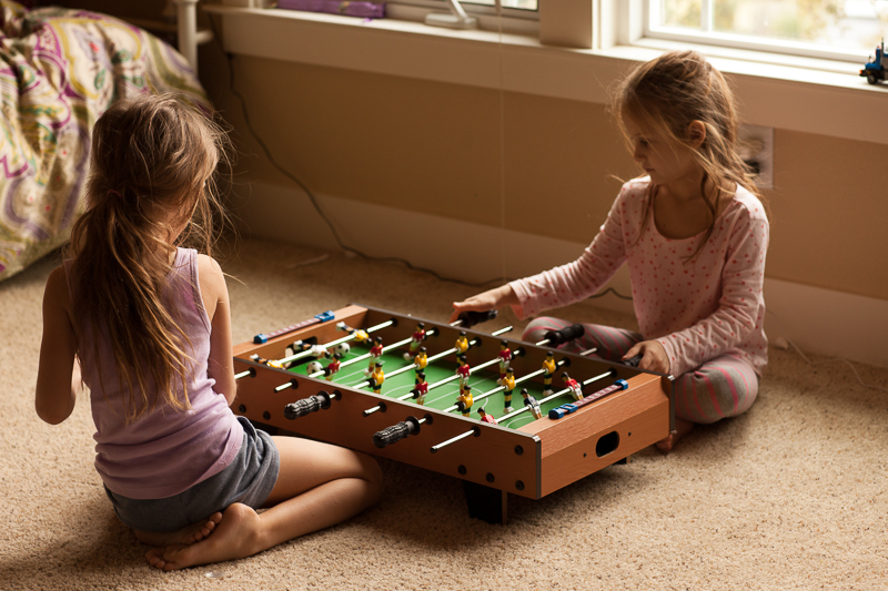 girls and foosball