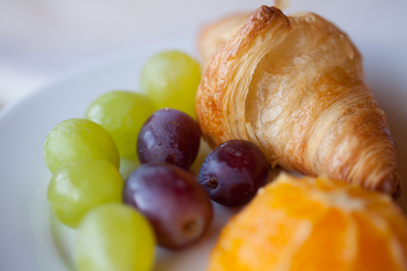 croissant and grapes