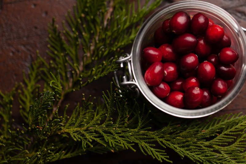cranberries and pine