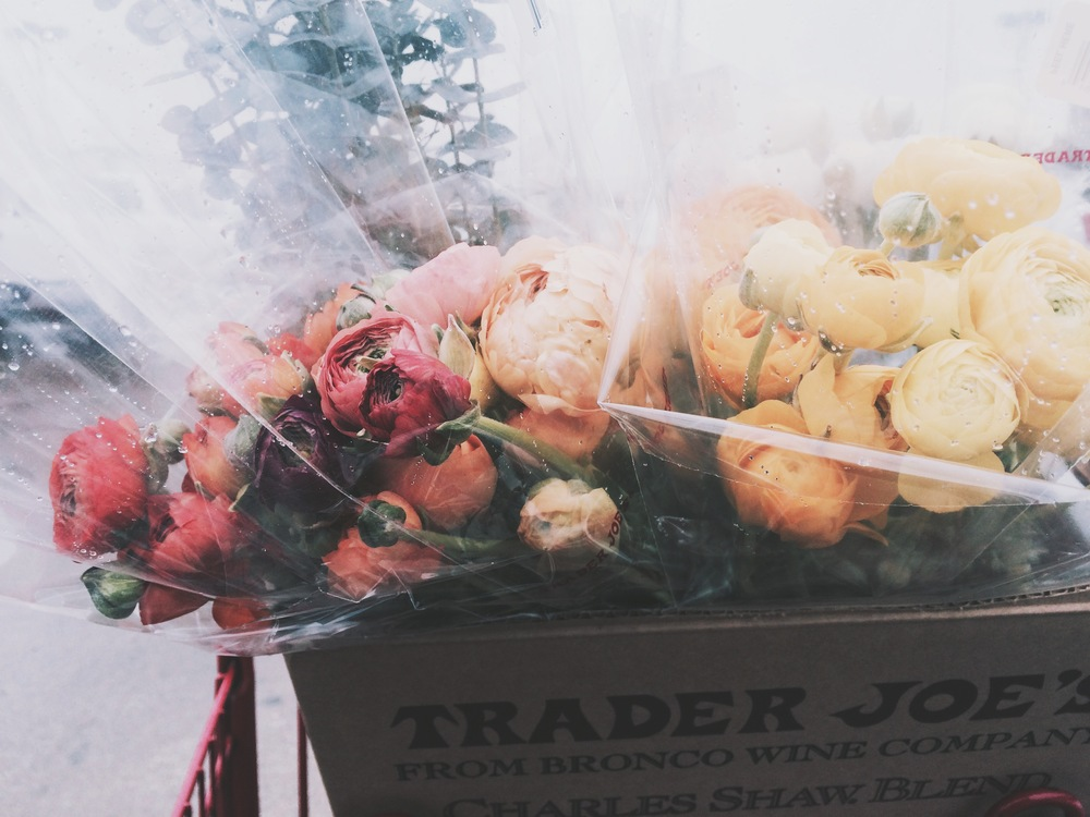 Buying flowers in the rain at Trader Joe's