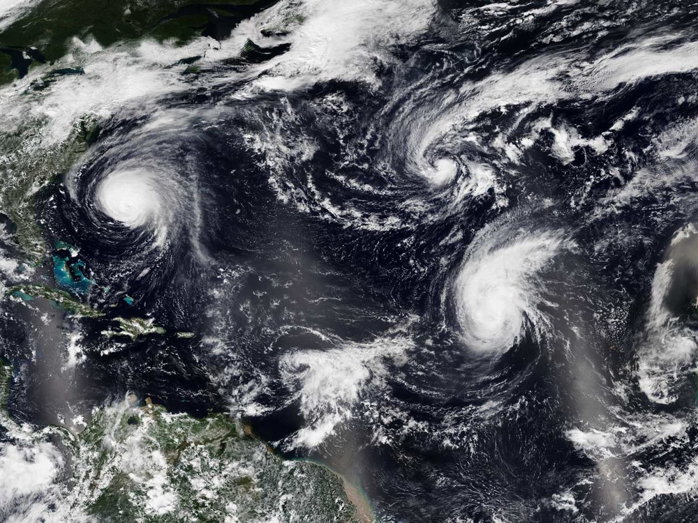 The 2018 Atlantic hurricane season became the most recent season to feature four simultaneous named storms, after  2008 . Visible in the image is  Florence  ( left ),  Isaac  ( bottom center ),  Helene  ( lower right ), and  Joyce  ( upper right ) on September 12.