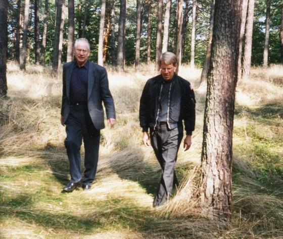 Douglas Keeney with Markus Wolf, former head of East Germany's spy agency, Stassi. Seen in Prenden, East Germany, just after the Berlin Wall came down.