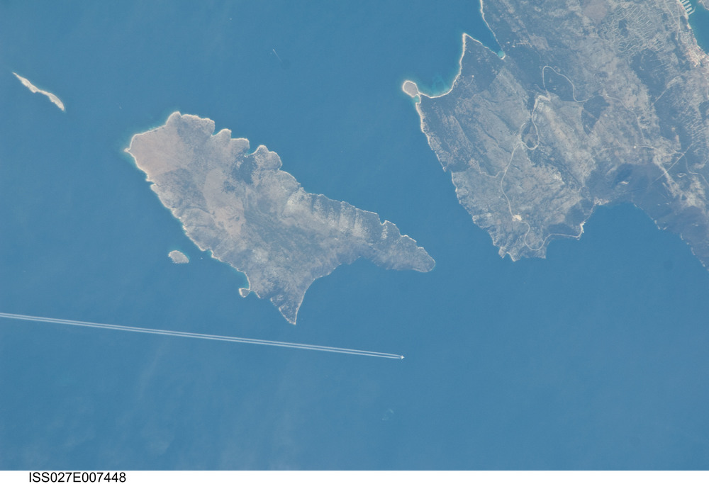 "A jetlinee seen over Croatia. Credit"" NASA"