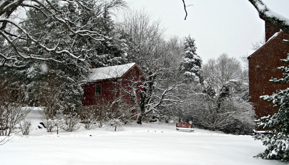 Snowy view of the Summer Kitchen Cottage and Inn