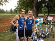 Guide Kyle Hooker and I before the Lake Sammimish Triathlon