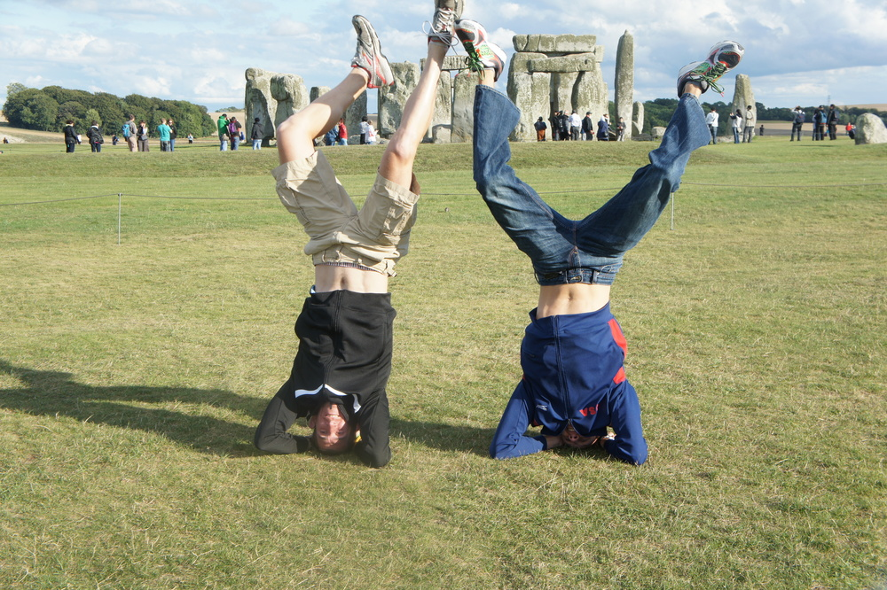 Colin and I had to show our head stand abilities in front of the historic Stonehenge rocks.