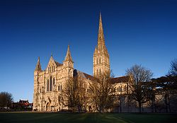 The Salisbury Cathedral tallest church spire in the  United Kingdom (123m/404 ft).   The cathedral contains the world's oldest working clock (from AD 1386) and has the best surviving of the four original copies of the Magna Carta.