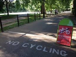 Everywhere we looked was one of these signs.  Where can you cycle in London?