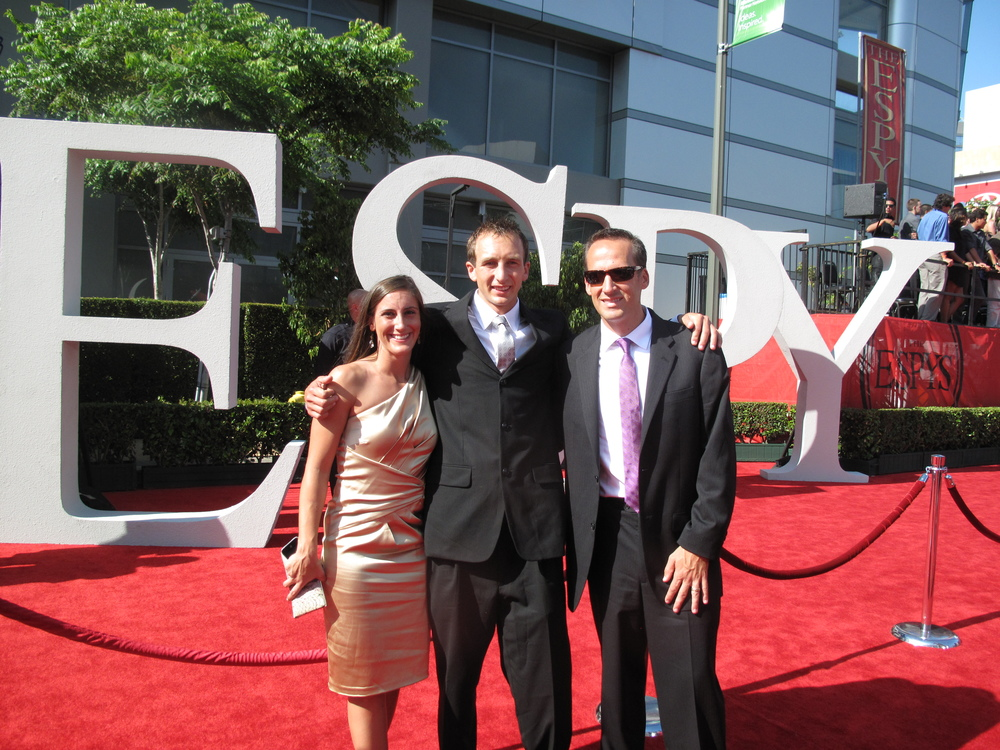 In 2011 I was a finalist for the ESPY for Best Male Athlete with a Disability.  Here's my now fiancé Brittney Paisley, original guide Matt West and I on the red carpet in Hollywood just before the awards.  The one-legged wrestler from Arizona State Anthony Robles won the award but don't worry, I'll be back!!! :)