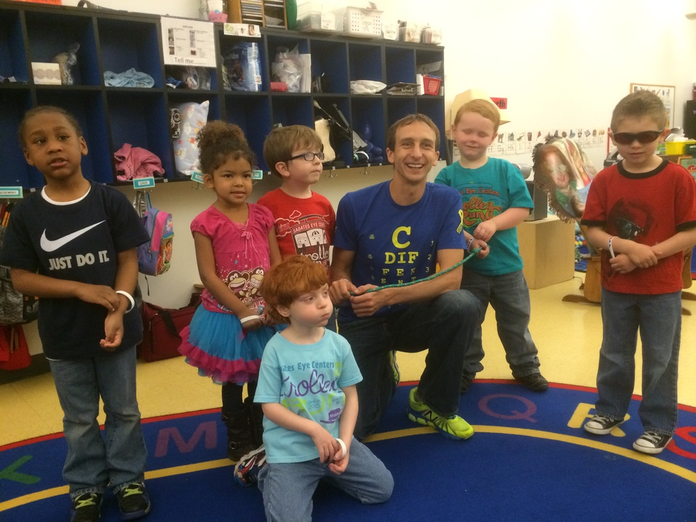I love when I get opportunities to go to schools for the blind & visually impaired and get to talk to and play with the kids.  Last year I hung out with the kids in Kansas City at the Children's Center for the Visually Impaired before the annual Trolley Run and it was awesome.  I even got to take a run loop with them around their school. I was guided by one of the VI kids, it was AWESOME!!!
