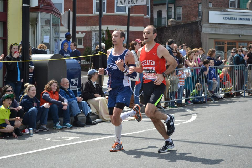 The 2013 Boston Marathon will never be forgotten.  Everyone looks back and remembers where they were on April 15, 2013.  I was right there in Boston as seen above with guide Ryan Irwin.  I had my best marathon that day finishing in 2:44:34.  Less than two hours later, the country would be shaken up forever.  We were just leaving a nearby parking garage when the bombs went off but it was a scary day for everyone in the city of Boston that day.  Runners keep running though and the 2014 Boston Marathon was the largest and most sought after marathon to do ever! #RunOn