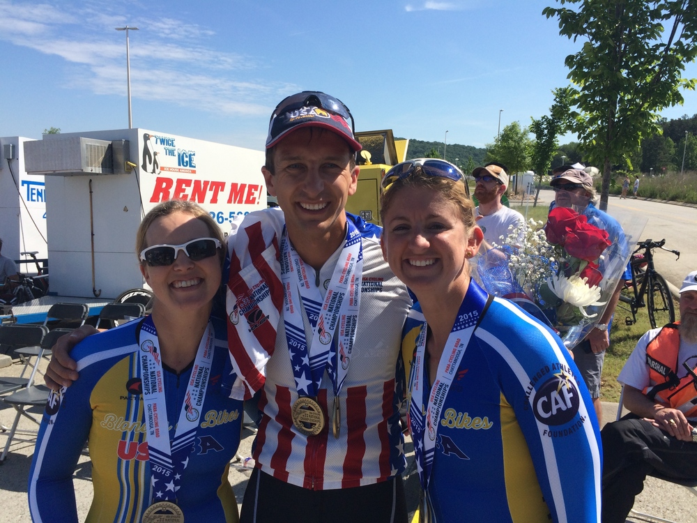"The ""Blondes on Bikes"" and I at US Para-Cycling Nationals in Chattanooga."