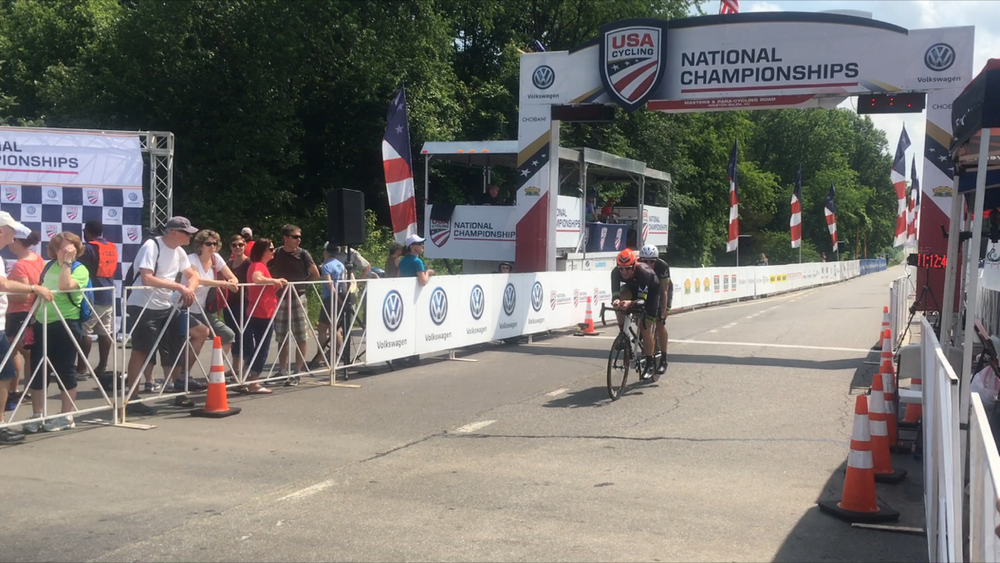 olin Riley and I cross the line at the 2016 Para-Cycling National Championships Time Trial.