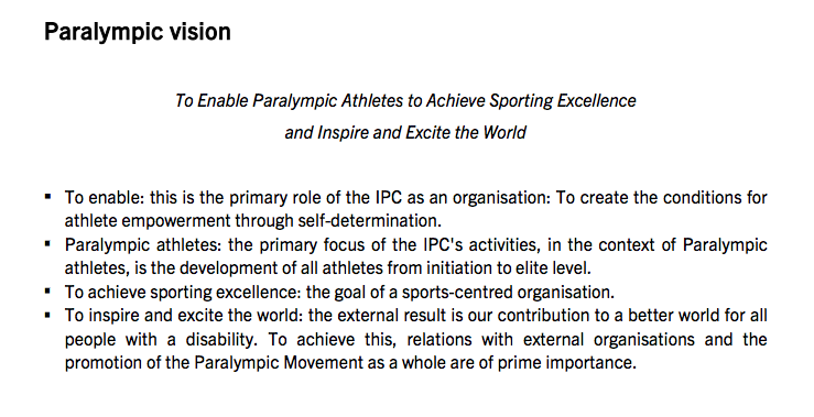 The Paralympic vision states that the goal is to inspire the world. The athletes would contest this.