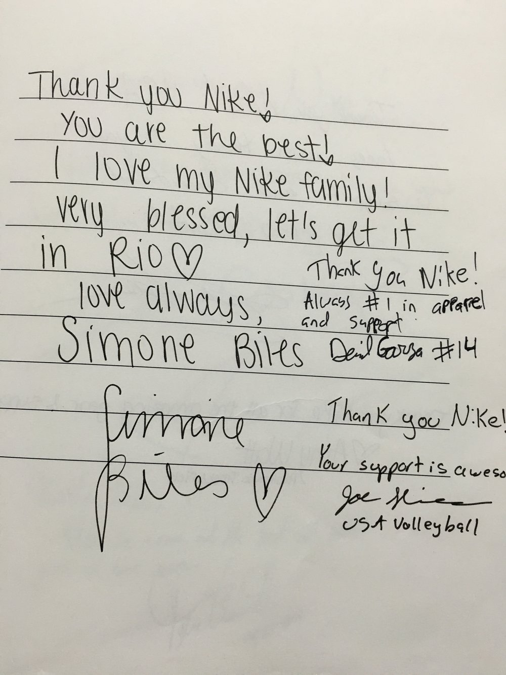 I had to of course take some pictures of some other Thank You's in the Nike Memory Book.  Here is one from Simone Biles Olympic gymnast.  I find it comical that other athletes tried to squeeze their message right next to Simone's just to get a little attention.  BTW, there were plenty of empty pages :)
