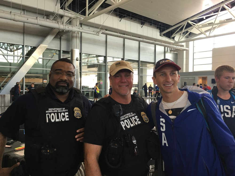 After our police escort from the hotel to the airport, we got a special escort through security and to our gate at the Houston airport before we took off to Rio
