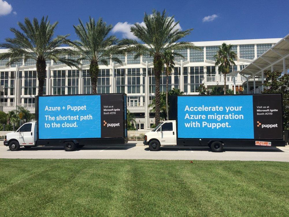 Mobile Billboard Truck outside Orlando Florida convention center // Static Billboard Truck