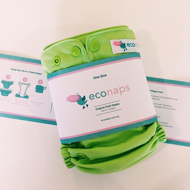 @econaps cloth nappies with their informational packaging collar. Great for babies bums and the earth, it's a win win! 👶🏼