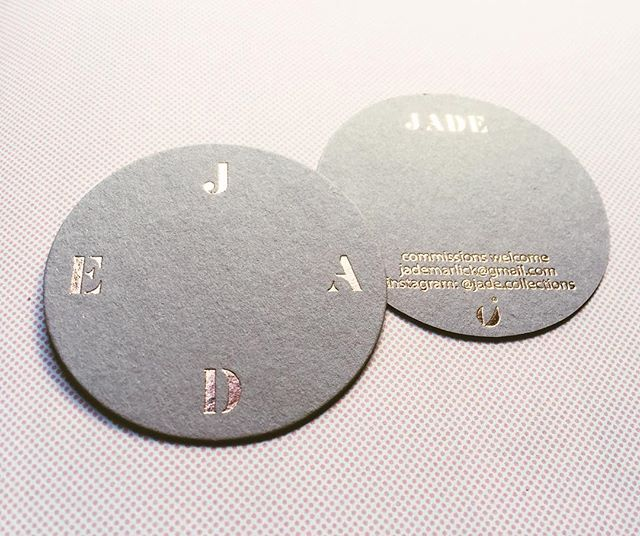 The most gorgeous cards we design for @jade.collections printed by @stitch_press on gray card with rose gold foil just perfect for jewellery cards or business cards!