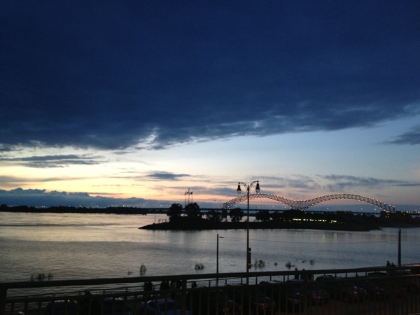 A Mississippi River view in downtown Memphis, Tennessee.
