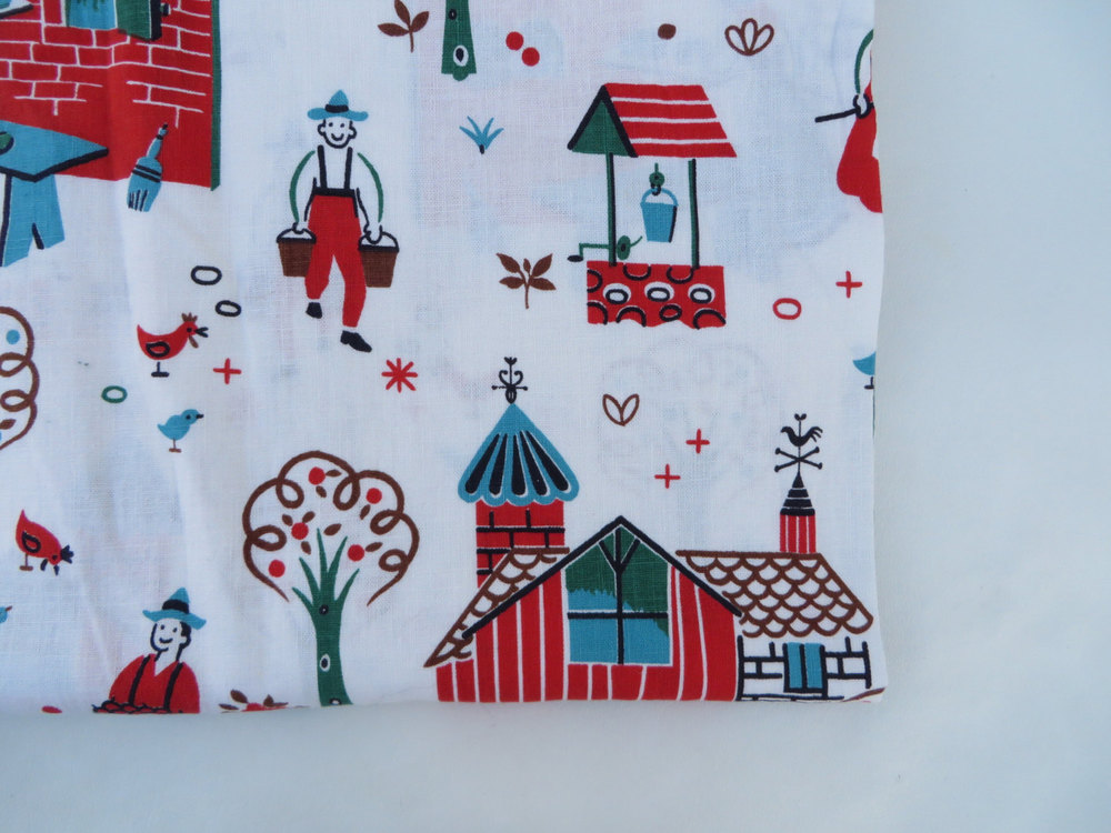 1940's novelty print fabric, available here