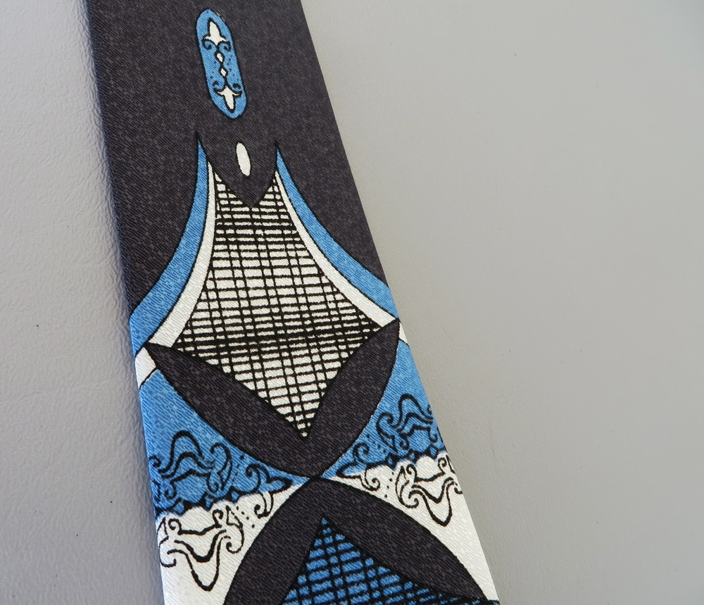 Men's 1950's necktie with a contemporary rococo design