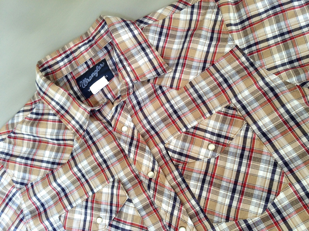 Men's 1980's plaid Wrangler western shirt