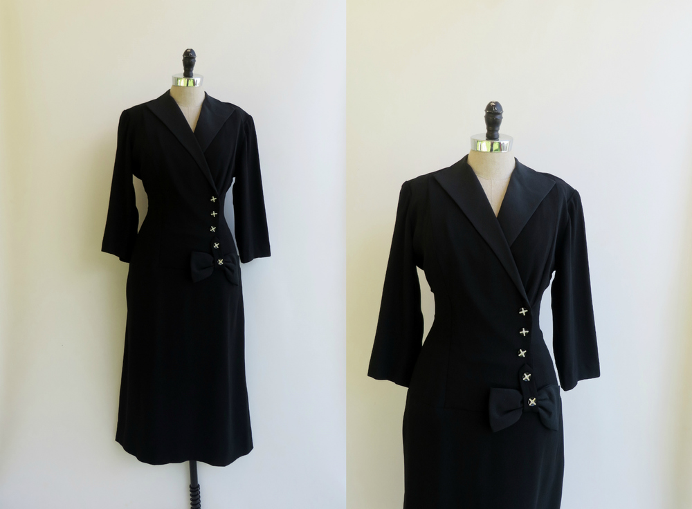 1940's - 1950's tailored black dress with rhinestone cross buttons