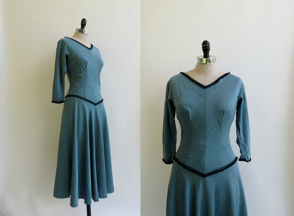 1940's - 1950's dress with accents of black & metallic gold threads