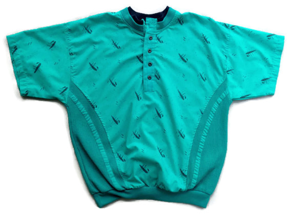 1980's Men's Polo Shirt with Mesh Sides