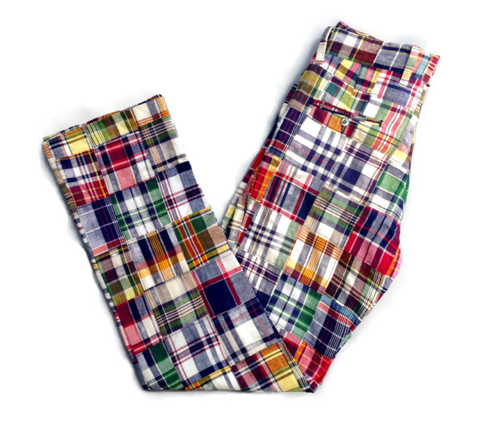 1960's - 1970's Boy's Madras Plaid Patchwork Pants by Brooks Brothers