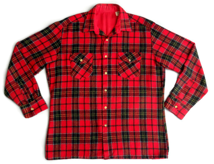 1960's Men's Red Plaid Flannel Shirt