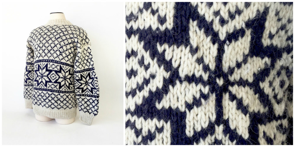 Fantastic hand-knit ski sweater with a quite cool snowflake pattern. Nice and warm!