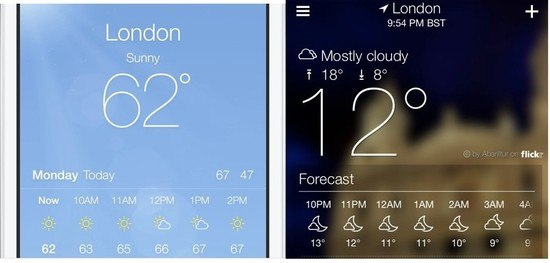 Apple Weather and Yahoo! Weather. Twins separated at birth.