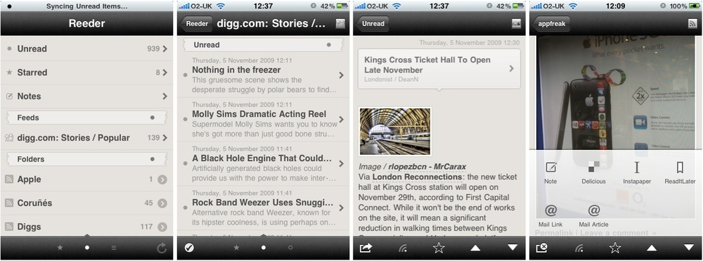 The first Reeder for iPhone