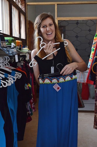 Sarah showing a rad combination with an AAD tank top and a Claire Tendo skirt.