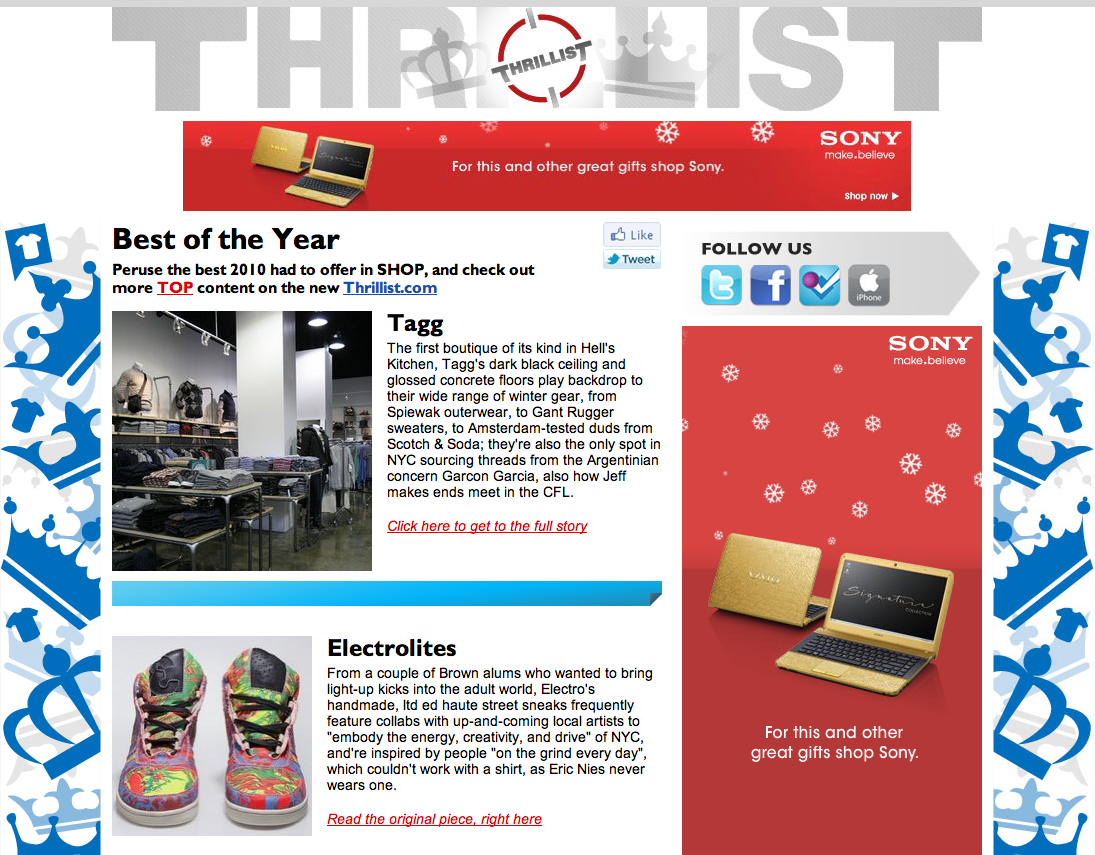 "Electrolites featured in Thrillist NY: Best of the Year 2010! We've received nothing but love from the guys at Thrillist, and this morning's send out was no different. Electrolites Footwear was featured in their ""Cream Of The Shop"" send out, highlighting the top 5 things 2010 had to offer for shopping!"