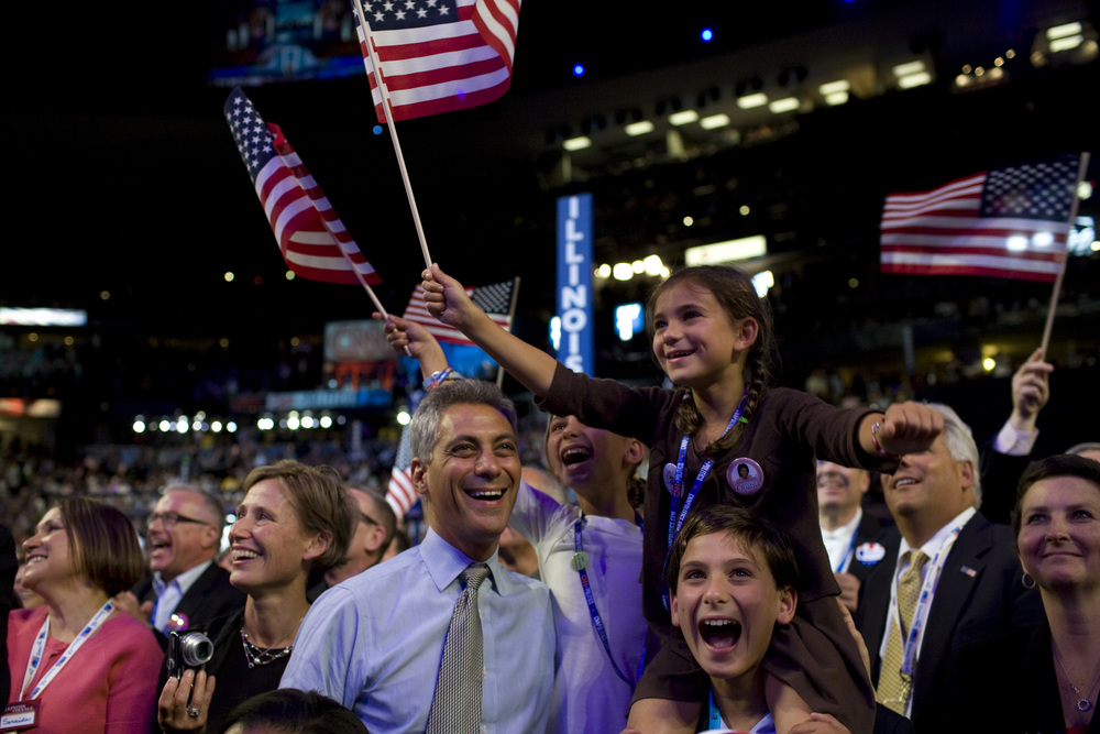 Fmr. Congressman Rahm Emanuel at the DNC in Colorado with his three children.