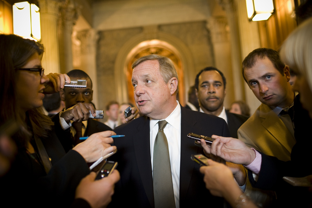 Sen. Dick Durbin (D-IL) speaks with reporters.