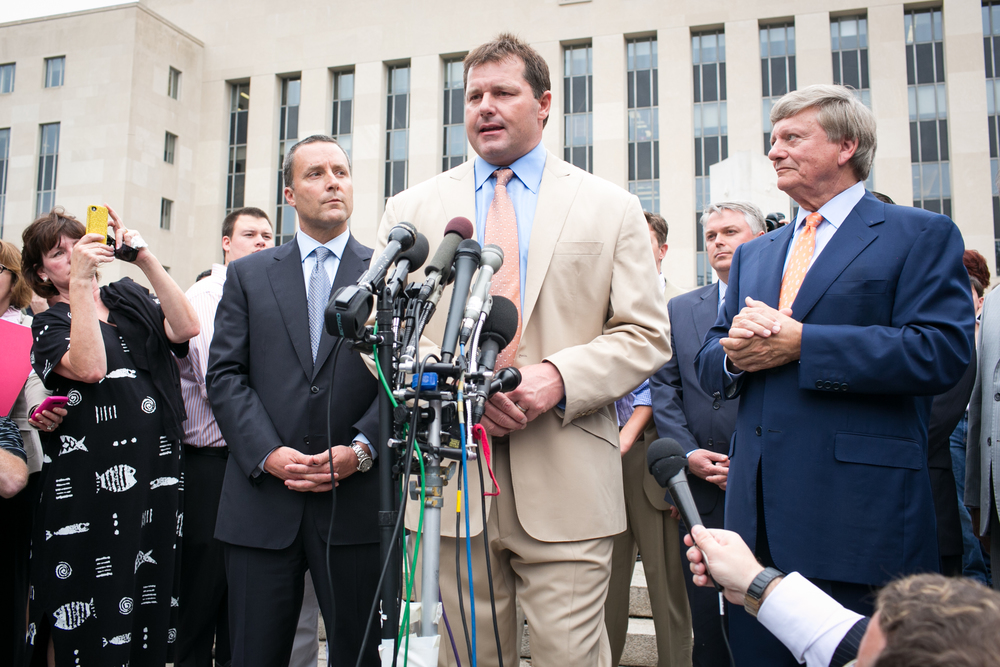 Roger Clemens speaks to the press after being acquitted on all charges that he obstructed and lied to Congress in denying he used performance-enhancing drugs to extend his pitching career.