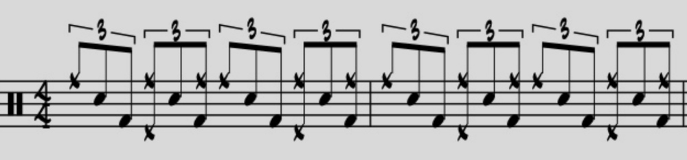 Next, a variation of the first example: moving the third partial of the triplet from the snare onto the kick drum.