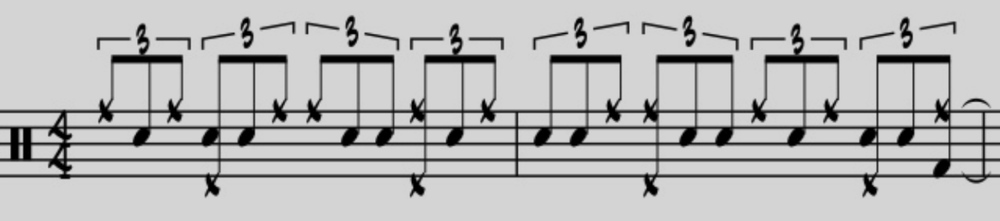 Next, move the ride cymbal pattern around to accentuate different partials of the triplet.  Note the incorporation of both the snare drum and the bass drum on the third partial of the triplets.