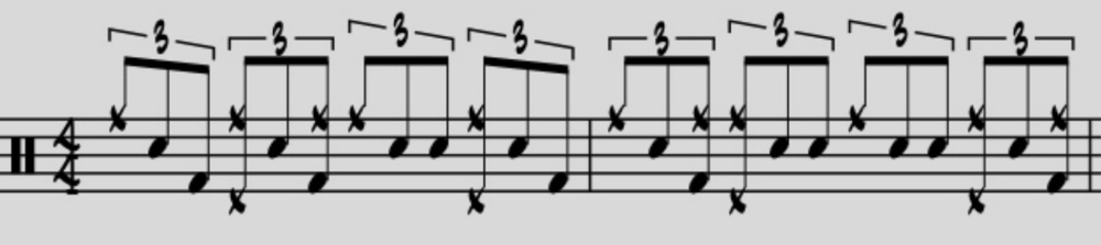 "Here we have an advanced example of some ""Elvin time.""  Note how the right and left hand incorporate the concept of hand chasing.  Also, observe the manner in which the figure is phrased – it illustrates the 3-over-4 concept, repeating on a downbeat every three beats."