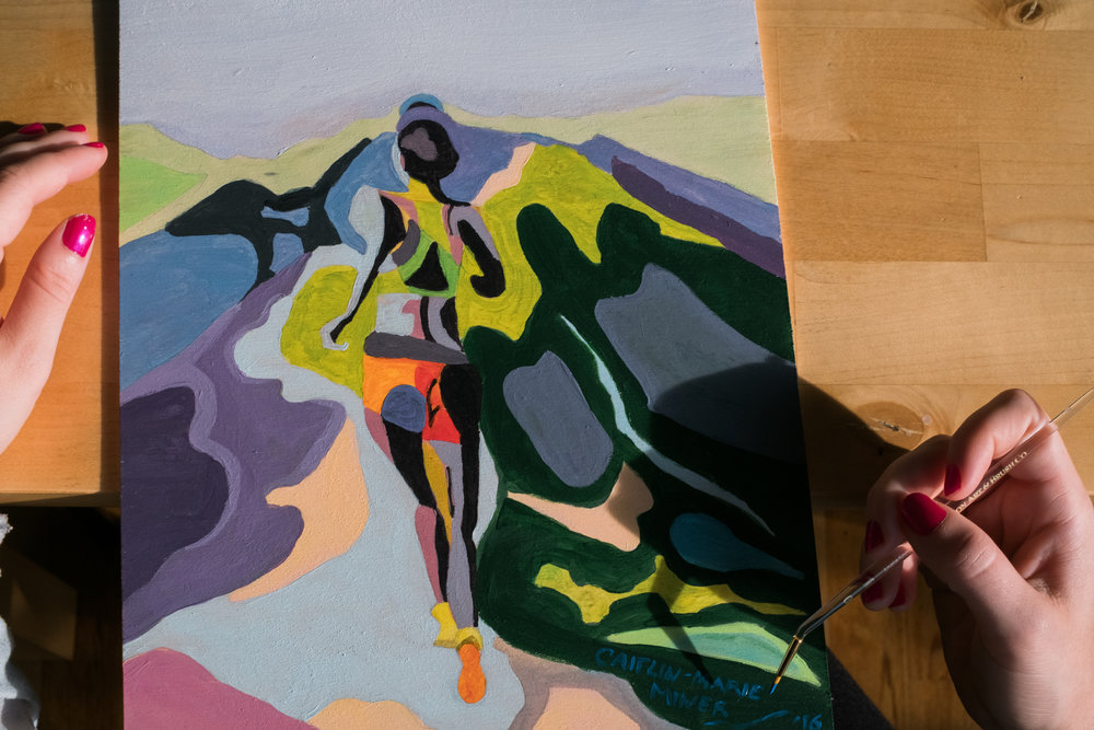 Working on my paintings. Here, a runner melts into her surrounds.
