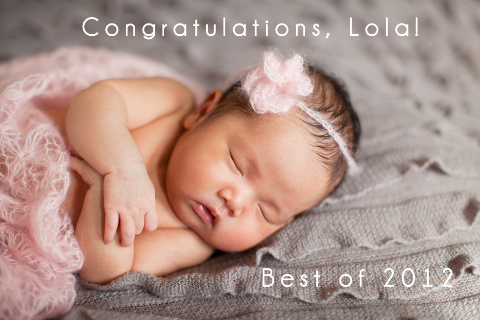 Albuquerque newborn baby portrait photographer baby girl with pink mohair flower headband