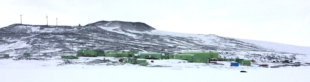 Not McMurdo Base, but the home of our Kiwi neighbors, Scott Base.