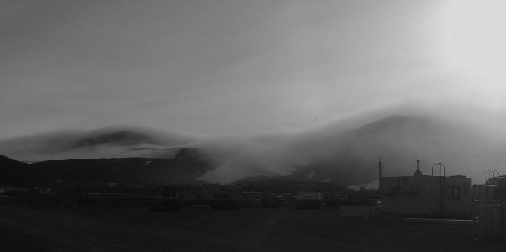 Fog on trash pick-up day.