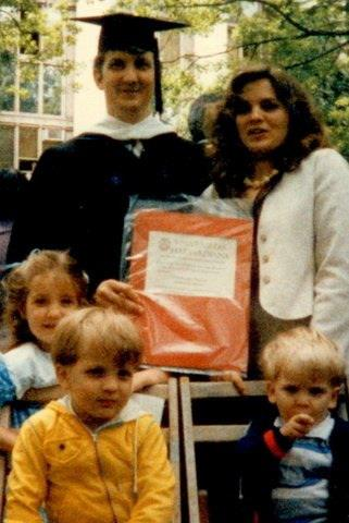 Dad's Graduation from Law School. Me, My Dad, My Mom, Phil, Dan. May, 1985.